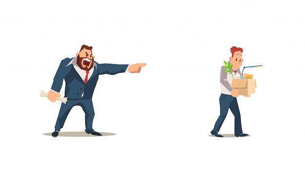 Vervallen, baan verliezen. angry boss dismiss employee.