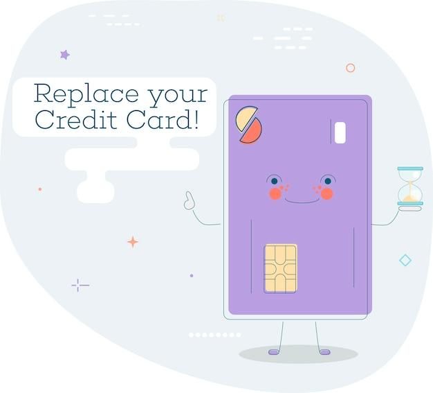 Vervang het trendy concept van uw creditcard in lijnstijl. bankwezen en financiën, e-commerceserviceteken, bedrijfstechnologie, detailhandel en winkelsymbool. creditcard grappige karakter illustratie