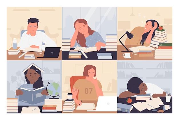 Verveeld studenten studeren vector illustratie set. jonge uitgeput vrouw man student stripfiguren zittend op een bureau met boeken terwijl studeren saai en huiswerk, gefrustreerde mensen aan het werk