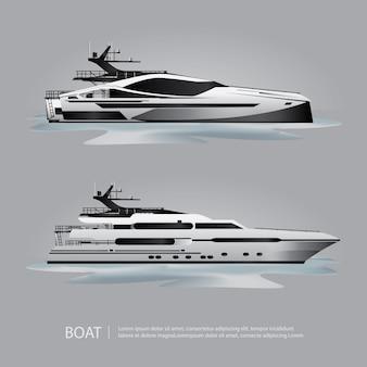Vervoer boot toeristische jacht om vectorillustratie te reizen