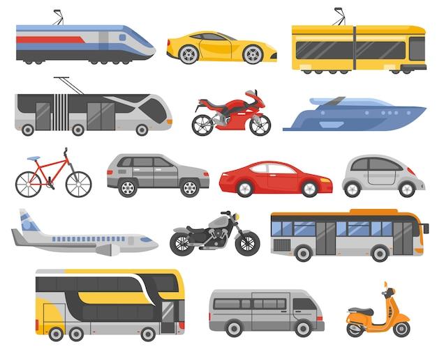 Vervoer decoratieve vlakke pictogrammen instellen
