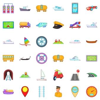 Vervoer iconen set, cartoon stijl