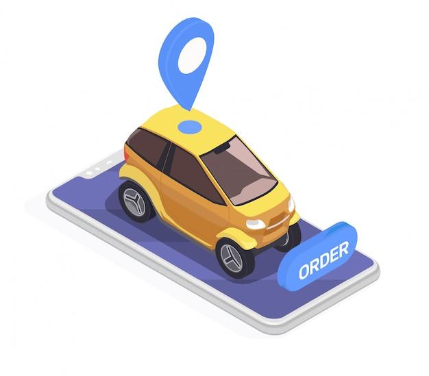 Vervoer isometrisch concept met smartphone en gele elektrische auto op witte 3d achtergrond