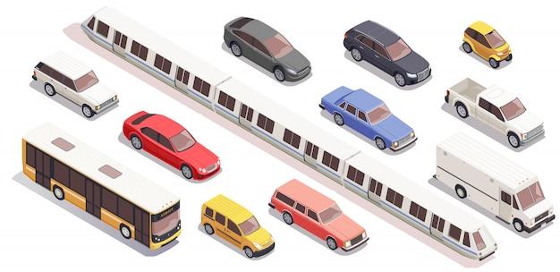 Vervoer isometrische die pictogrammen met de treinbestelwagen worden geplaatst van de busauto op witte 3d achtergrond wordt geïsoleerd