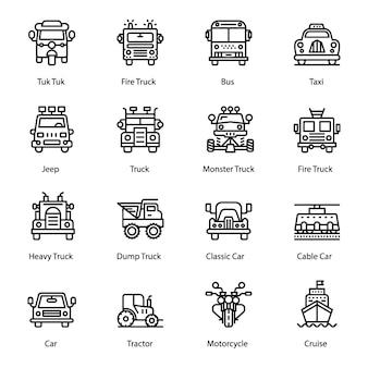 Vervoer lijn iconen pack