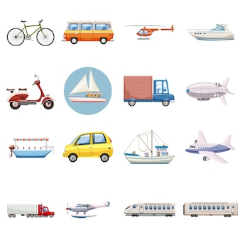 Vervoer pictogrammen instellen, cartoon stijl