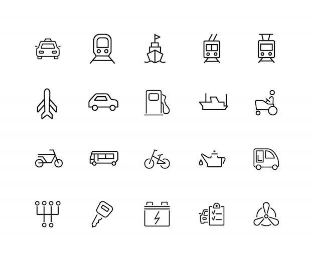 Vervoer pictogrammen. set van twintig lijn pictogrammen. taxi, benzinestation, motor van een auto.