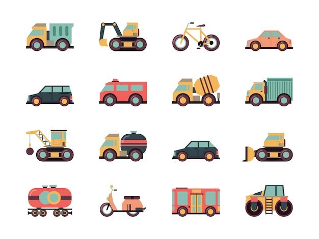 Vervoer platte pictogram. vervoer symbolen verschillende auto's openbare voertuigen machines gekleurde icoon collectie