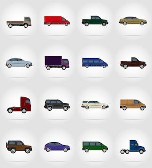 Vervoer platte voertuigen vectorillustratie