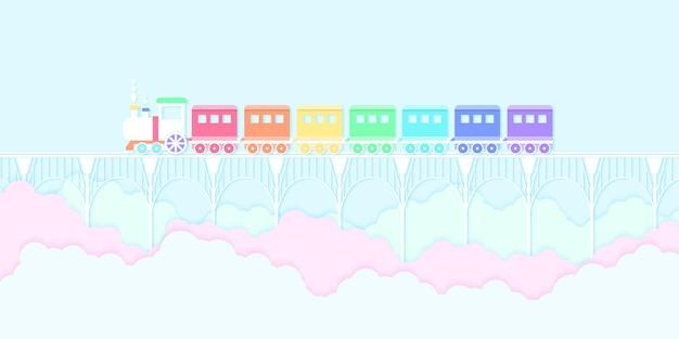 Vervoer regenboog kleur trein loopt op de brug met blauwe lucht en kleurrijke wolken