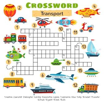 Vervoer speelgoed kruiswoordraadsel. werkblad voor voorschoolse kinderen