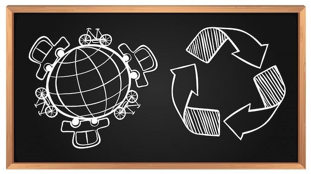 Vervoer ter wereld en recyclingsteken aan boord
