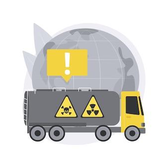 Vervoer van gevaarlijke goederen. transport van gevaarlijke goederen, verschillende gevarenklassen, chemische fabriek, container voor vloeistof, opslag van vaten.