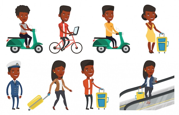 Vervoer vector set met mensen reizen.