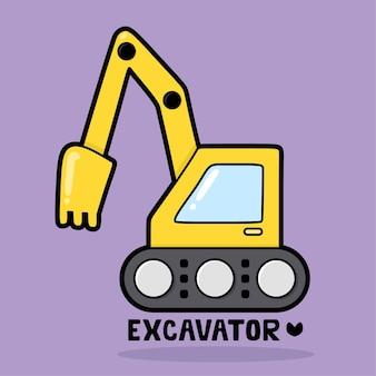 Vervoer voertuig cartoon met woordenschat graafmachine