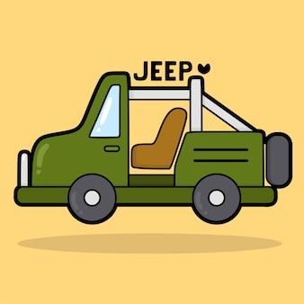 Vervoer voertuig cartoon met woordenschat jeep