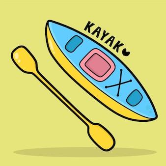 Vervoer voertuig cartoon met woordenschat kajak