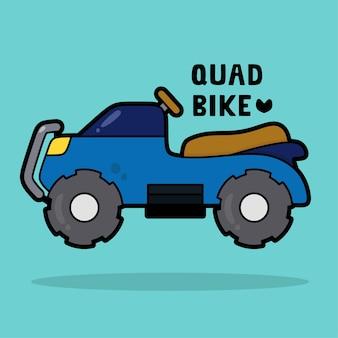 Vervoer voertuig cartoon met woordenschat quad bike
