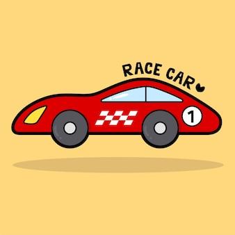Vervoer voertuig cartoon met woordenschat raceauto