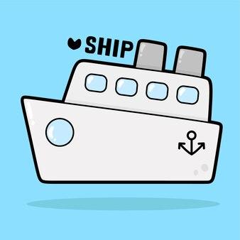 Vervoer voertuig cartoon met woordenschat schip