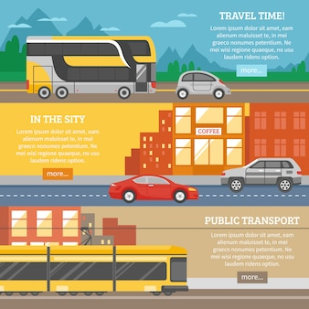 Vervoer voor stad en reisbanners