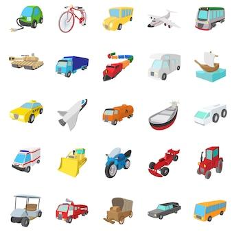 Vervoerspictogrammen die in geïsoleerde beeldverhaalstijl worden geplaatst