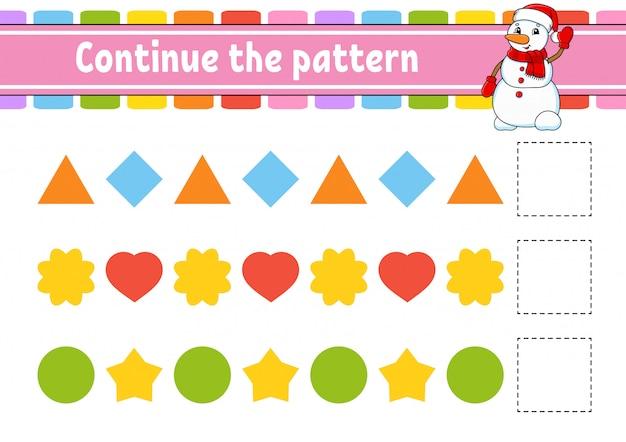 Vervolg het patroon. onderwijs ontwikkelt werkblad. spel voor kinderen. activiteitspagina.