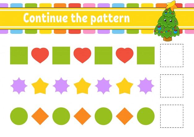 Vervolg het patroon. werkblad voor het ontwikkelen van onderwijs.