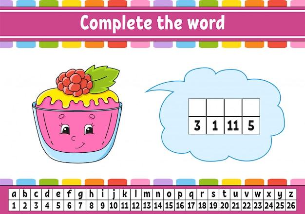 Vervolledig de woorden. cijfercode. woordenschat en cijfers leren.