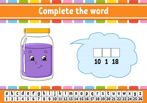 Vervolledig de woorden. coderingscode. woordenschat en cijfers leren. onderwijs ontwikkelt werkblad.
