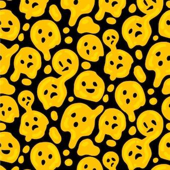 Vervormde emoticon naadloze patroon sjabloon