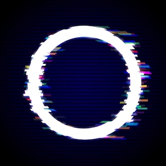 Vervormde glitch stijl moderne achtergrond. glitched circle frame design