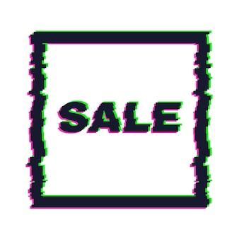 Vervormde glitch-verkoopbanner met fouteffect aan de randen en in tekst. vector illustratie.
