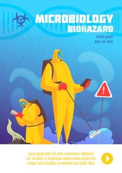 Vervuild land wordt waargenomen door mensen in illustratie van biohazardsuites