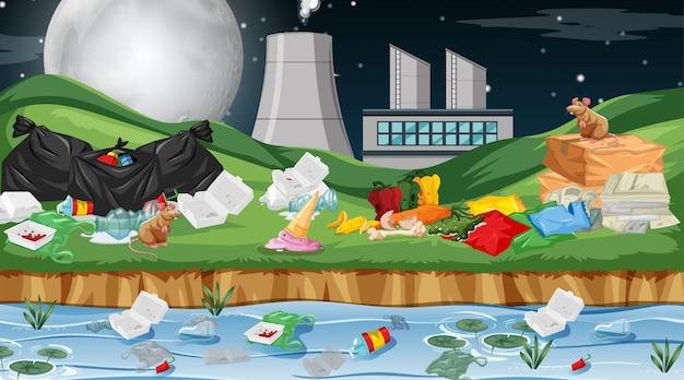 Vervuilde omgeving met fabriek
