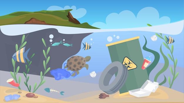 Vervuiling door de natuur. afval en afval in de zee