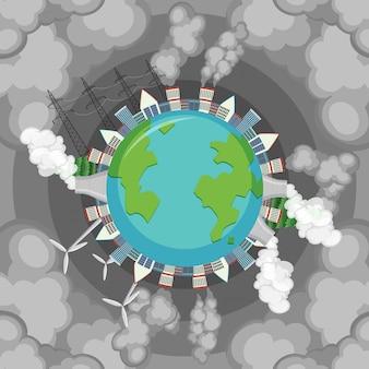 Vervuiling op aarde met vuile rook die uit fabrieksgebouwen komt