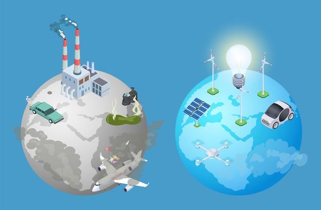Vervuiling planeet probleem. vervuiling versus schone aarde. isometrische alternatieve energiebronnen vector illustratie. vervuiling aarde, milieu-ecologie en schoon groen