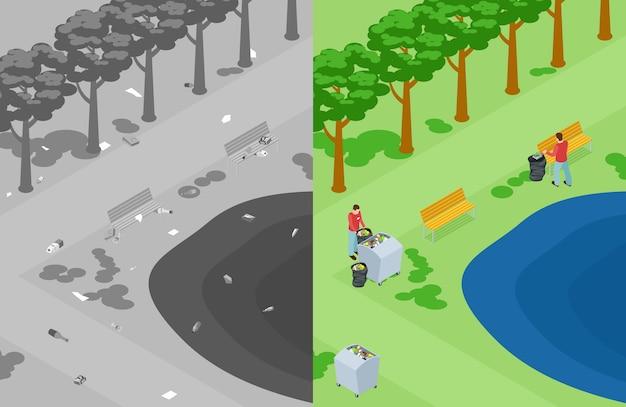 Vervuiling van de natuur of het park. vrijwilligers halen afval op in het park
