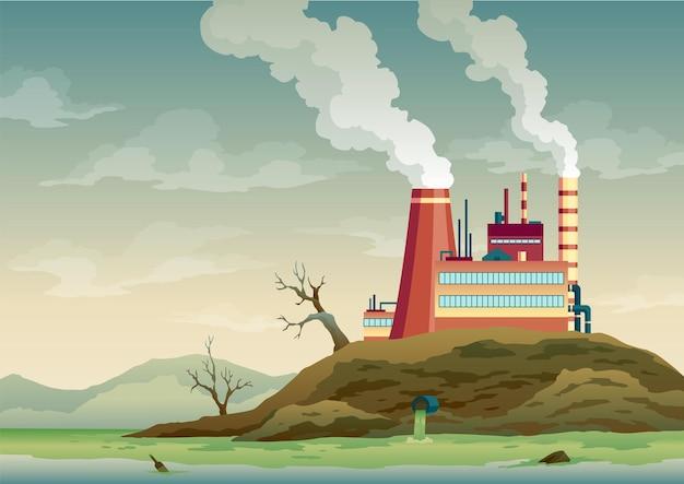 Vervuilingsfabriek met pijpenrook komt uit. afvalemissie naar rivierwater. landschap met ecologische ramp. natuurecologie-elementen en ecologieprobleemconcept in vlakke stijl.
