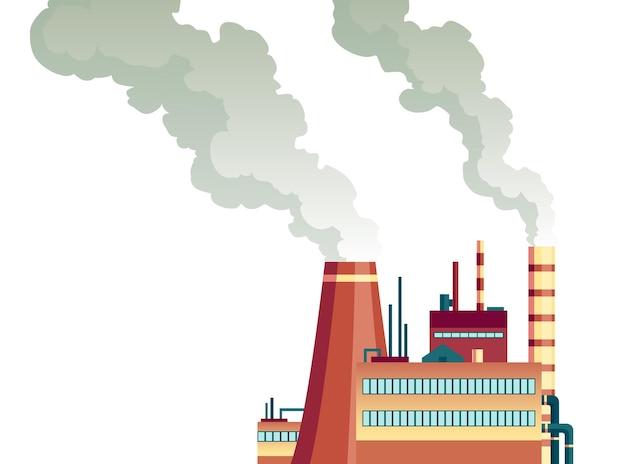 Vervuilingsfabriek met pijpenrook komt uit. ecologische ramp. natuurecologie-elementen en ecologieprobleemconcept in vlakke stijl.