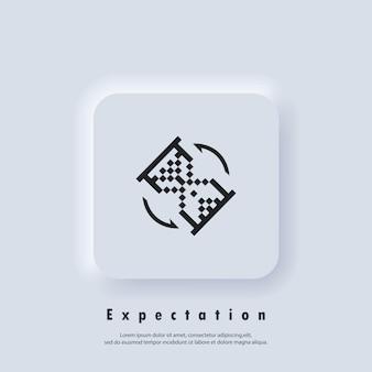 Verwachting pictogram. zandloper. zandloper pixel klokpictogram. wachttijd. snelle service. vector. ui-pictogram. neumorphic ui ux witte gebruikersinterface webknop. neumorfisme