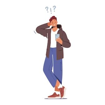 Verward tiener student mannelijk karakter met smartphone