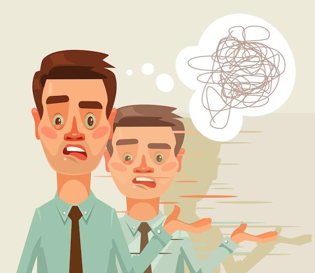 Verward verbaasd denken kantoormedewerker man karakter. gespleten persoonlijkheid.