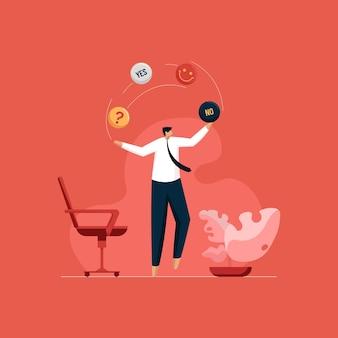 Verward zakenman jongleren met verschillende opties en moeilijke keuze maken