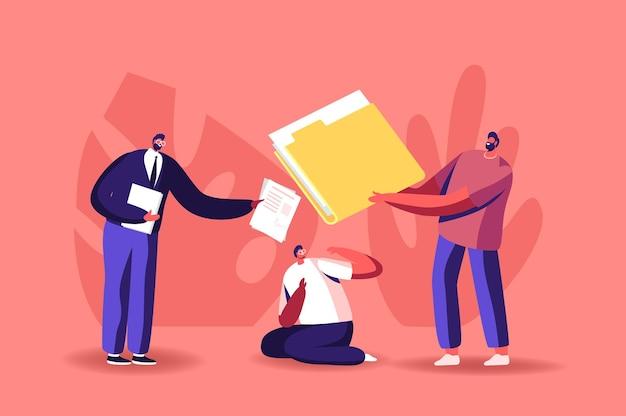 Verward zakenmankarakter zittend op de grond ingedrukt met de mening van collega's