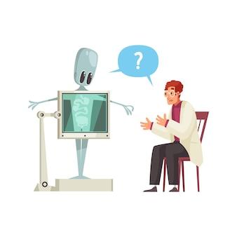 Verwarde arts of wetenschapper die röntgenfoto's maakt van een schattige humanoïde cartoon