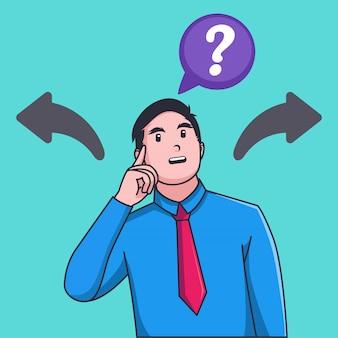 Verwarde de zakenman maakt keus voor twee pijlen