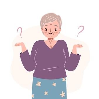 Verwarde oudere vrouw die twijfelt en aan dilemma denkt verbaasde oudere dame die haar schouders ophaalt