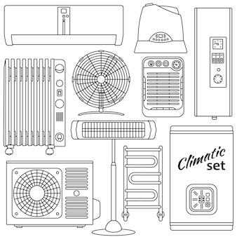 Verwarming, ventilatie en conditioneringsset. gemakkelijk